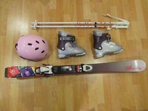 Skis with bindings, also have Boots, Helmet,  and Poles