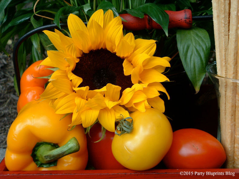 Create a centerpiece for your outdoor party with fresh produce and sunflowers - nature's colours are gorgeous!