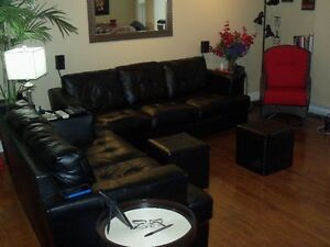 BLACK LEATHER/BONDED CHESTERFIELD LOVESEAT AND CHAIR
