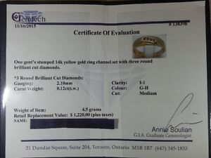 14K Gold Mens Ring With Diamonds - Worth $1220 - Plus Taxes! Peterborough Peterborough Area image 3