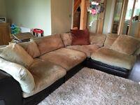 Corner Sofa - green fabric and brown leather
