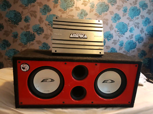 """Dual 10"""" Subwoofer w/ box and 5000w amp"""