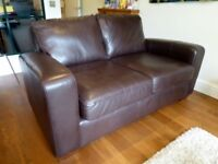 NEXT Branded Brown Leather 2-seater Sofa