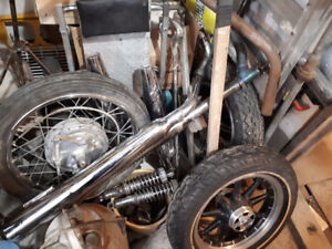 MOTORCYCLE TANKS , WHEELS, EXHAUST, HANDLE BARS ETC