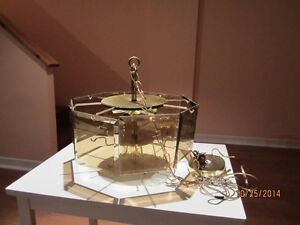 3 Tier Dining Room Chandelier With Amber Smoked Glass Panels West Island Greater Montréal image 2