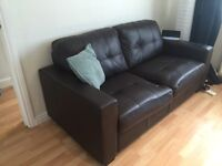 SOFA BROWN LEATHER 2 seater and 1 seater combo