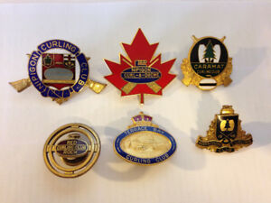 CURLING PIN collection, vintage Terrace Bay, Red Rock, Nipigon