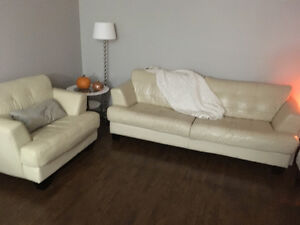 Excellent condition leather couch and chair for sale!