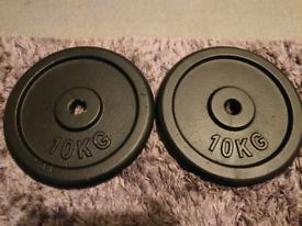 Brand new 20 KG (2x10kg) set Cast iron weight plates
