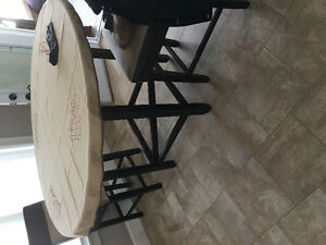 "54"" Round Glass Table C/W four chairs"
