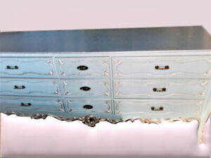French Louis XVI Dresser/Sideboard in Light Blue & Silver-Solid