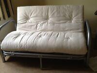 Futon sofa bed from Argos, beige cover/mattress