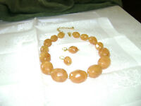 AMBER BEAD NECKLACE WITH EARRINGS