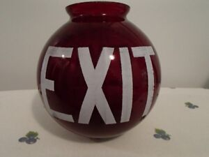 RARE VINTAGE  RUBY RED GLASS EXIT SIGN
