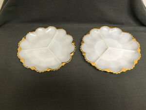 Collectible Antique 2 Milk Glass Pickle Dishes London Ontario image 1