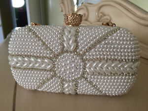 White Pearl Clutch for Wedding