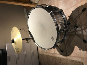Snare and cymbal