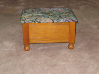 Footstool with storage, slots for CDs