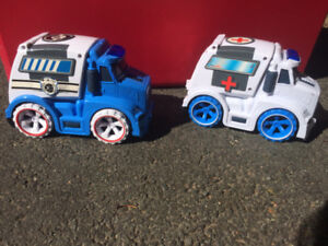Police Car & Ambulance with sirens (both working with batteries)