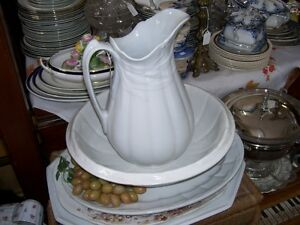 Antique Wheat Pattern Ironstone Pitcher Water Basin set