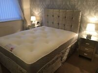 REDUCED CRUSHED VELVET BEDS WITH DRAWERS & 1000 POCKET MATTRESS