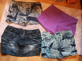 Summer shorts/denim skirt bundle size 12uk