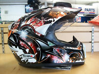 SHIRO Black/Red Fighter Design, MotoCross Helmets With Shield