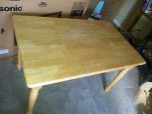 Maple table and four maple chairs
