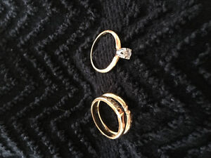 14k GOLD LADIES YELLOW AND WHITE RING WITH BAND