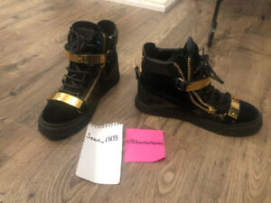 Size 5.5 Giuseppe Zanotti Gold Buckle High Top Sneakers