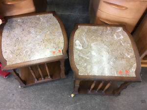 Two Side Tables with Marble Accent
