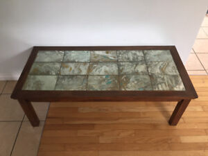 Beautiful mission style coffee table with marbled glass