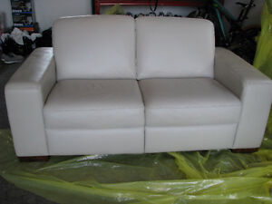 Natuzzi Leather Castillo Loveseat in Light Beige Custom Color