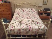 White shabby chic metal double bed with mattress from dreams