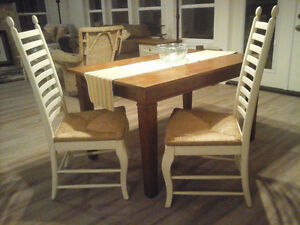 Pr of Antique Ladder-back Rush Seat Chairs