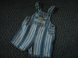 Boys Size 4 Striped Overall Jean Shorts