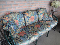 Hauser wrought iron padded settee and chair