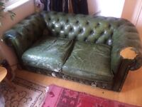 Chesterfield two seater sofa, green