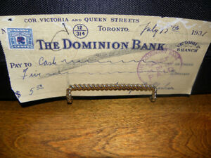 Reduced Price: Depression Era $5 Cheque with 2-Cent Stamp