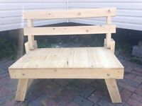 UNFINISHED WESTERN RED CEDAR HAND CRAFTED FOLDING BENCH