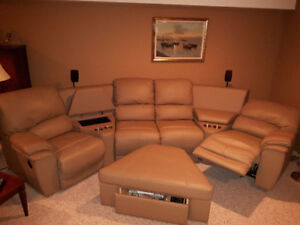 Leather Sectional and Chairs