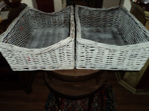 One Shabby Chic Wicker Basket-$5.00