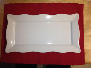 White serving platter  8 x 14 1/2 inches