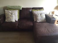 Brown Leather Chaise Suite