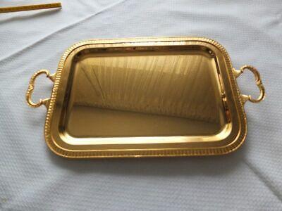 elegant goldenes Goldtablett Serviertablett vergold Louis Seize Stil Tablett Gold-tablett