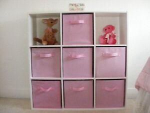 Nine cubicle shelf/dresser