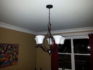 Chandelier, 5 glass shades, 2 broken