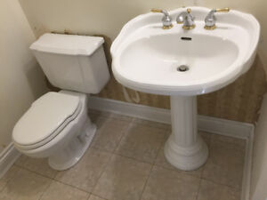 Pedestal sink and gold silver faucet