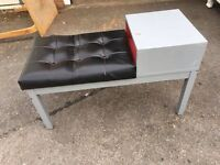 TELEPHONE TABLE BLACK SEAT ** FREE DELIVERY AVAILABLE **