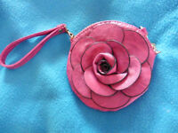 New ladies pink round small clutch bag purse rose shaped front can send